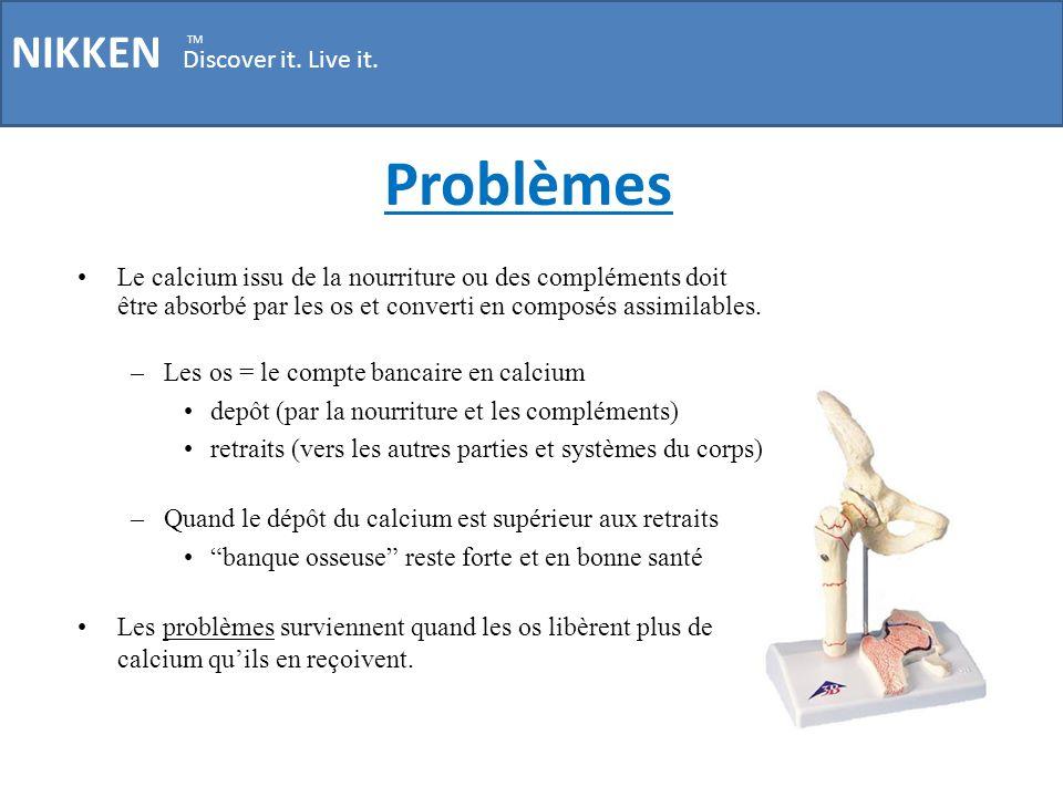 Problèmes NIKKEN Discover it. Live it. TM Le calcium issu de la nourriture ou des compléments doit être absorbé par les os et converti en composés ass
