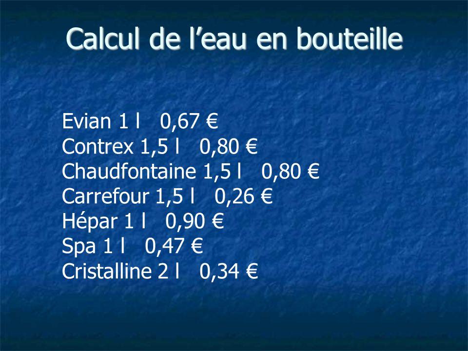 Calcul de leau en bouteille Evian 1 l 0,67 Contrex 1,5 l 0,80 Chaudfontaine 1,5 l 0,80 Carrefour 1,5 l 0,26 Hépar 1 l 0,90 Spa 1 l 0,47 Cristalline 2