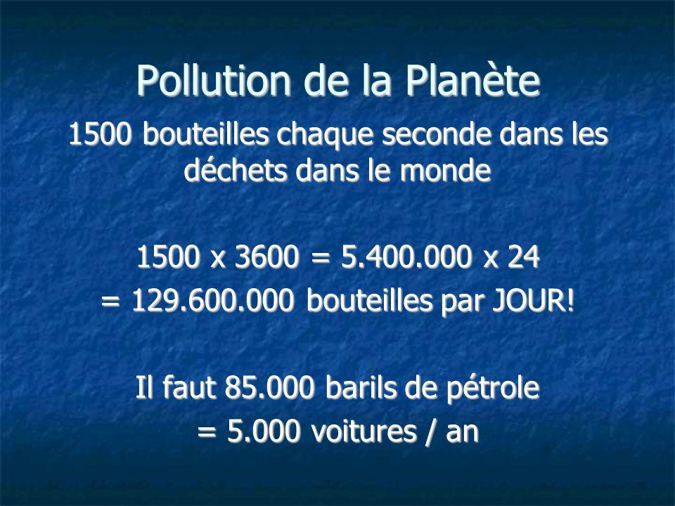 Pollution de la Planète 1500 bouteilles chaque seconde dans les déchets dans le monde 1500 x 3600 = 5.400.000 x 24 = 129.600.000 bouteilles par JOUR!