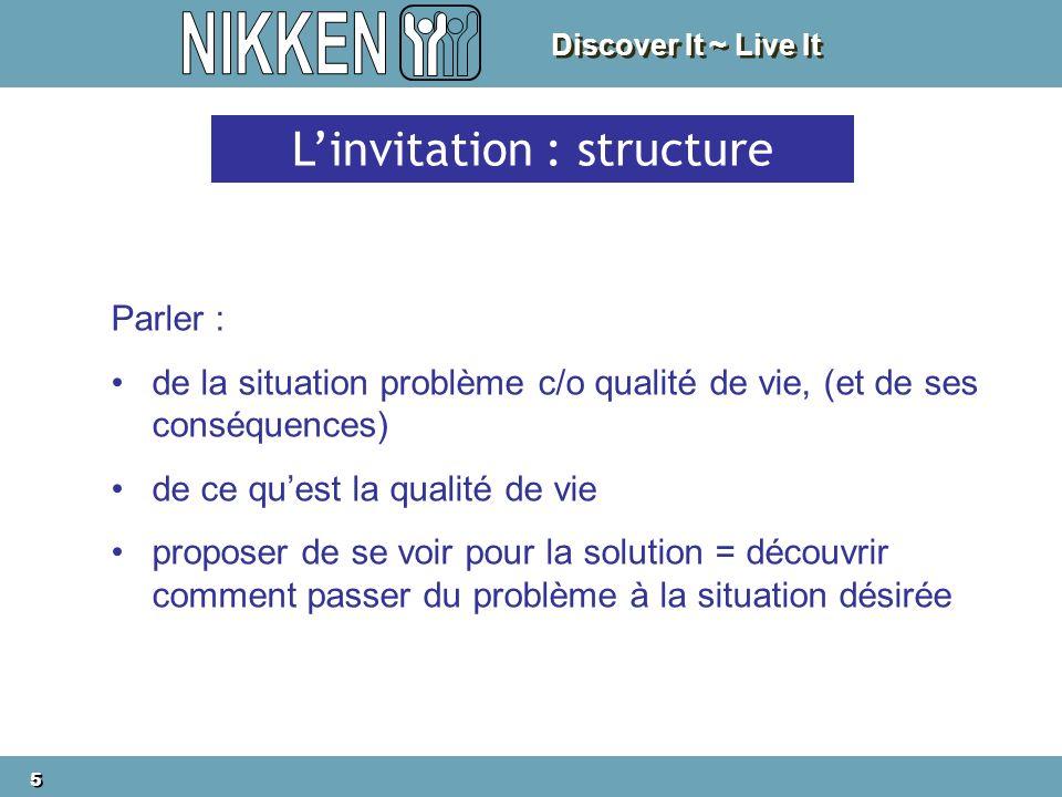 Discover It ~ Live It 5 5 Linvitation : structure Parler : de la situation problème c/o qualité de vie, (et de ses conséquences) de ce quest la qualité de vie proposer de se voir pour la solution = découvrir comment passer du problème à la situation désirée