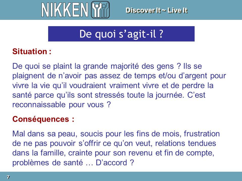 Discover It ~ Live It 7 7 De quoi sagit-il ? Situation : De quoi se plaint la grande majorité des gens ? Ils se plaignent de navoir pas assez de temps