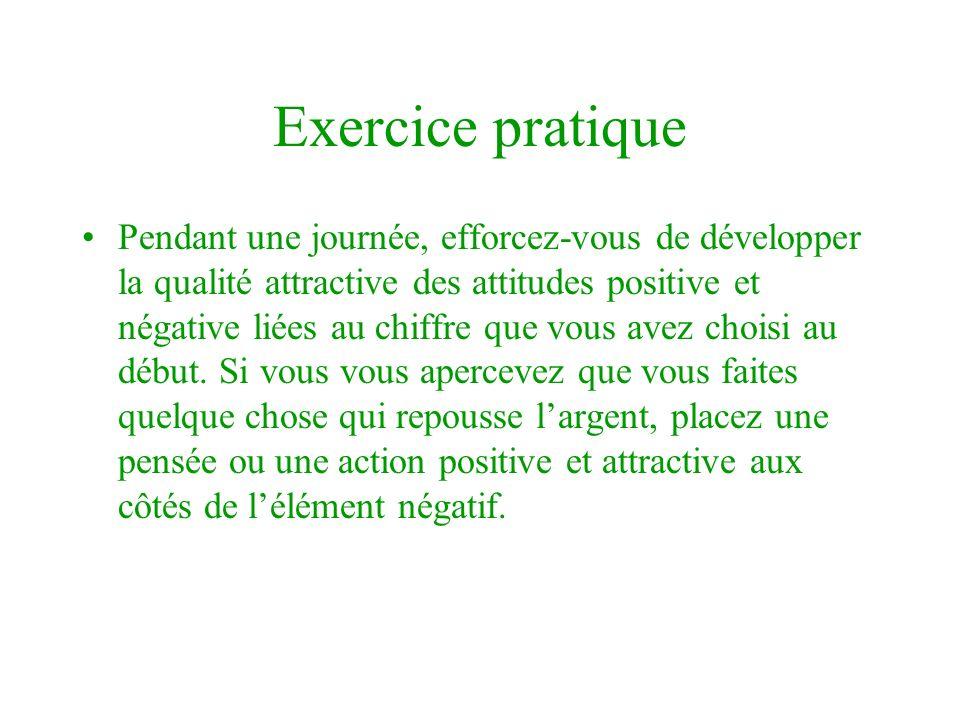 Exercice pratique Pendant une journée, efforcez-vous de développer la qualité attractive des attitudes positive et négative liées au chiffre que vous avez choisi au début.