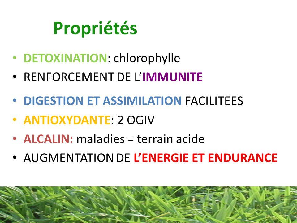 Propriétés DETOXINATION: chlorophylle RENFORCEMENT DE LIMMUNITE DIGESTION ET ASSIMILATION FACILITEES ANTIOXYDANTE: 2 OGIV ALCALIN: maladies = terrain
