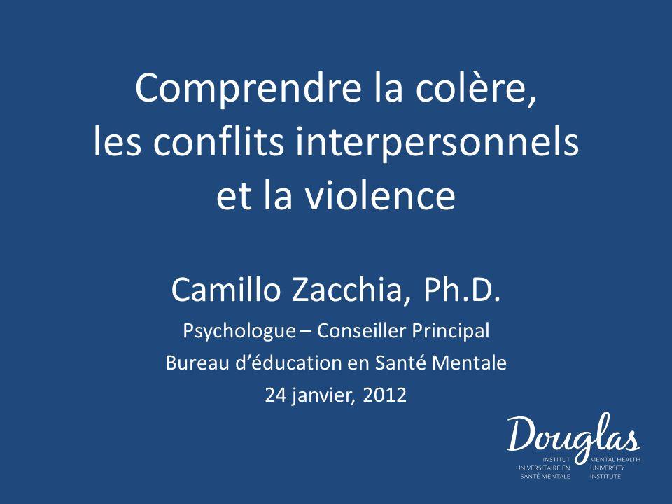 Comprendre la colère, les conflits interpersonnels et la violence Camillo Zacchia, Ph.D. Psychologue – Conseiller Principal Bureau déducation en Santé