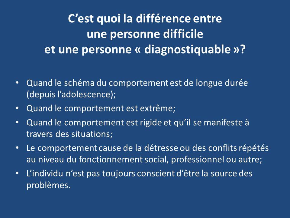 Cest quoi la différence entre une personne difficile et une personne « diagnostiquable »? Quand le schéma du comportement est de longue durée (depuis