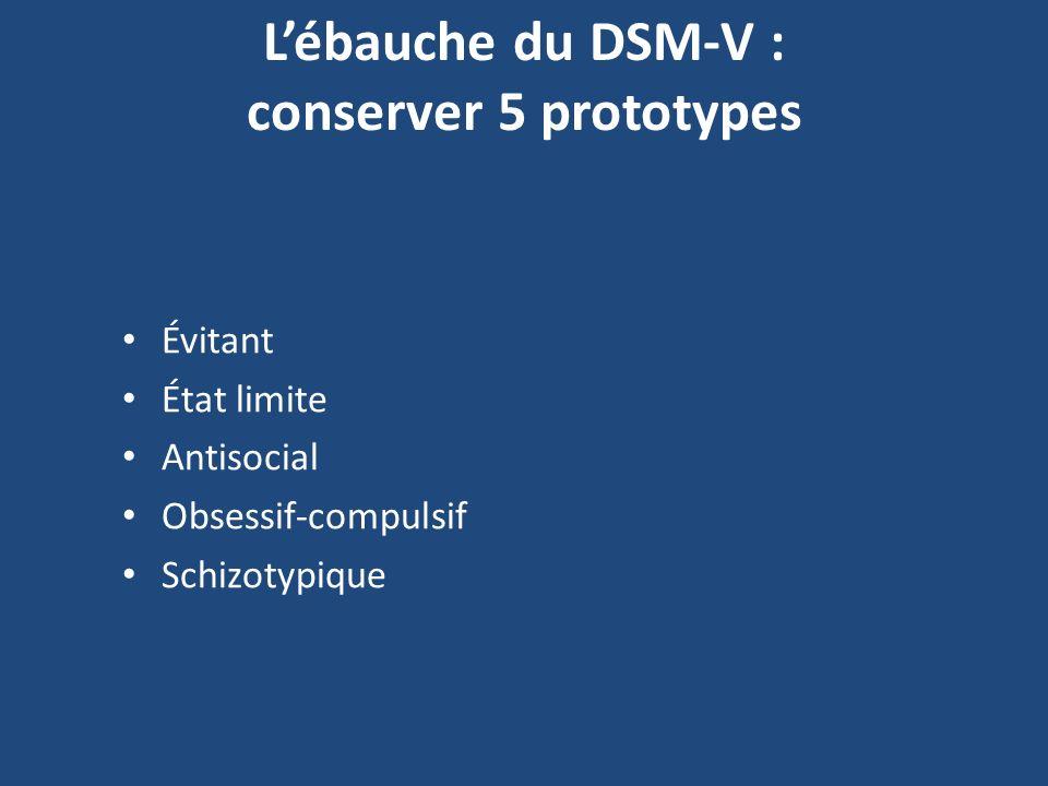Lébauche du DSM-V : conserver 5 prototypes Évitant État limite Antisocial Obsessif-compulsif Schizotypique
