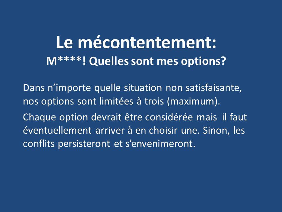 Le mécontentement: M****! Quelles sont mes options? Dans nimporte quelle situation non satisfaisante, nos options sont limitées à trois (maximum). Cha