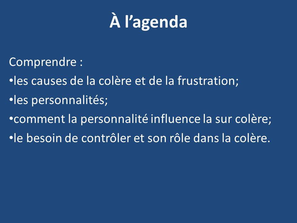 À lagenda Comprendre : les causes de la colère et de la frustration; les personnalités; comment la personnalité influence la sur colère; le besoin de