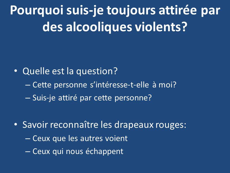 Pourquoi suis-je toujours attirée par des alcooliques violents? Quelle est la question? – Cette personne sintéresse-t-elle à moi? – Suis-je attiré par