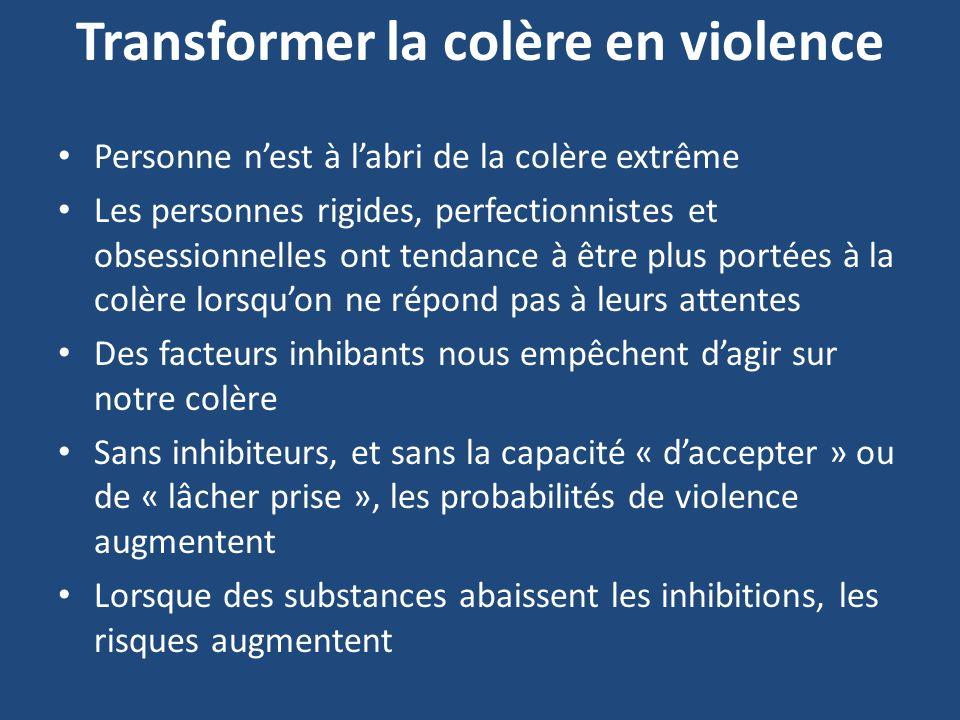 Transformer la colère en violence Personne nest à labri de la colère extrême Les personnes rigides, perfectionnistes et obsessionnelles ont tendance à