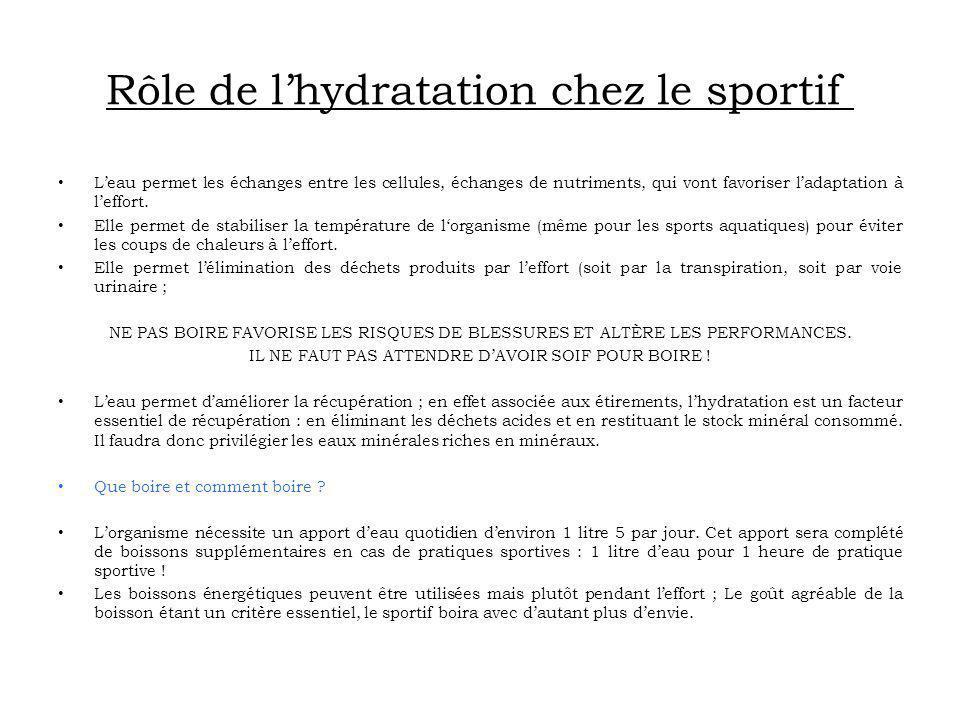 Rôle de lhydratation chez le sportif Leau permet les échanges entre les cellules, échanges de nutriments, qui vont favoriser ladaptation à leffort. El