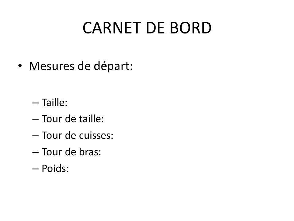 CARNET DE BORD Mesures de départ: – Taille: – Tour de taille: – Tour de cuisses: – Tour de bras: – Poids:
