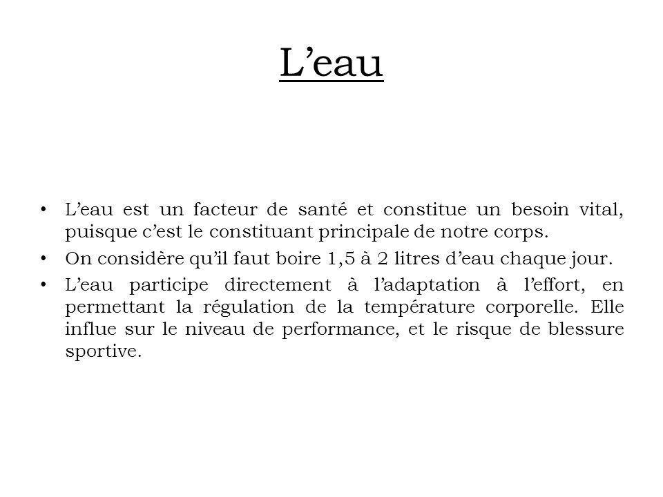 Leau Leau est un facteur de santé et constitue un besoin vital, puisque cest le constituant principale de notre corps. On considère quil faut boire 1,