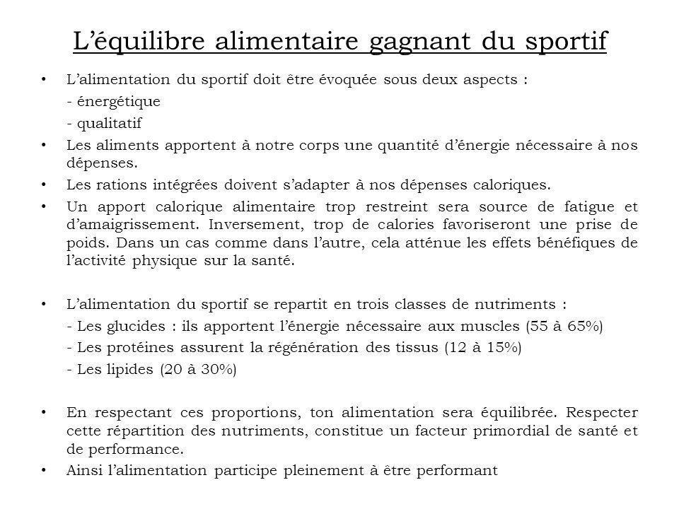 Léquilibre alimentaire gagnant du sportif Lalimentation du sportif doit être évoquée sous deux aspects : - énergétique - qualitatif Les aliments appor