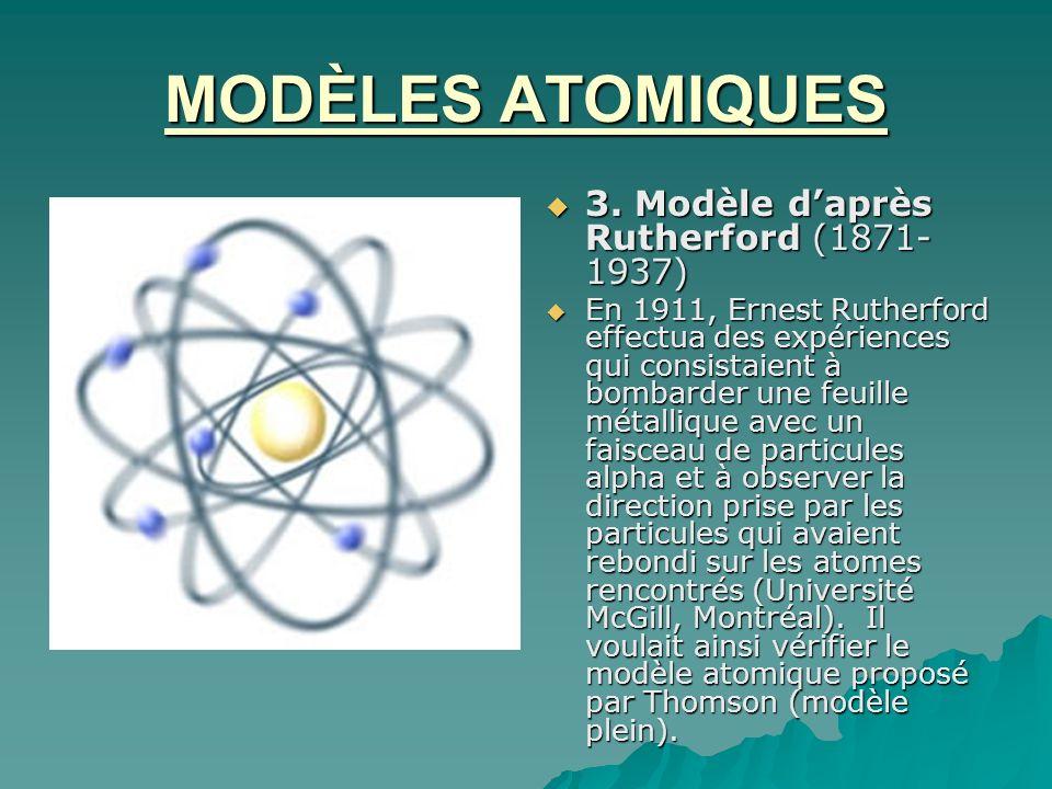 MODÈLES ATOMIQUES 3. Modèle daprès Rutherford (1871- 1937) 3. Modèle daprès Rutherford (1871- 1937) En 1911, Ernest Rutherford effectua des expérience