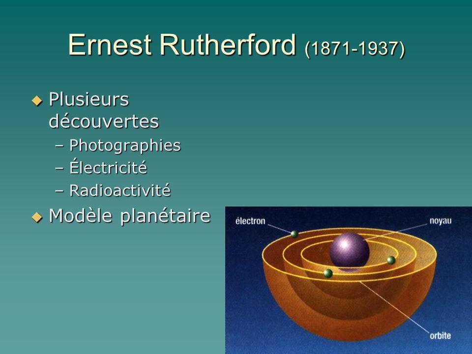 Ernest Rutherford (1871-1937) Plusieurs découvertes Plusieurs découvertes –Photographies –Électricité –Radioactivité Modèle planétaire Modèle planétai