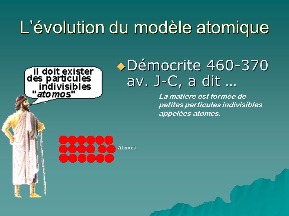 Lévolution du modèle atomique Démocrite 460-370 av. J-C, a dit … Démocrite 460-370 av. J-C, a dit … La matière est formée de petites particules indivi