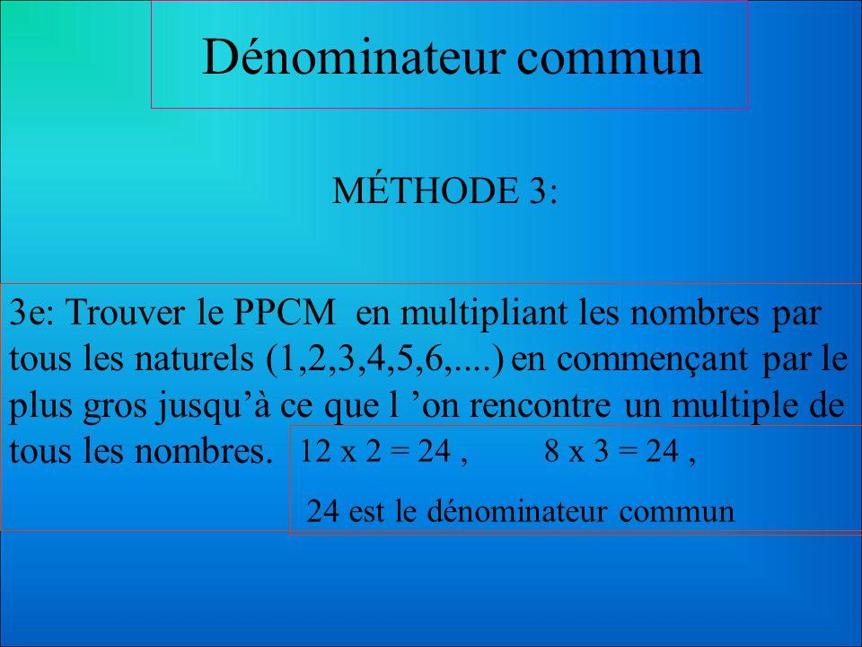 Dénominateur commun MÉTHODE 2: 8 = 2 x 2 x 2 12= 2 x 2 x 3 2 X 2 X 2 X 3 = 24 2e: La décomposition en facteurs premiers permet aussi d arriver au PPCM