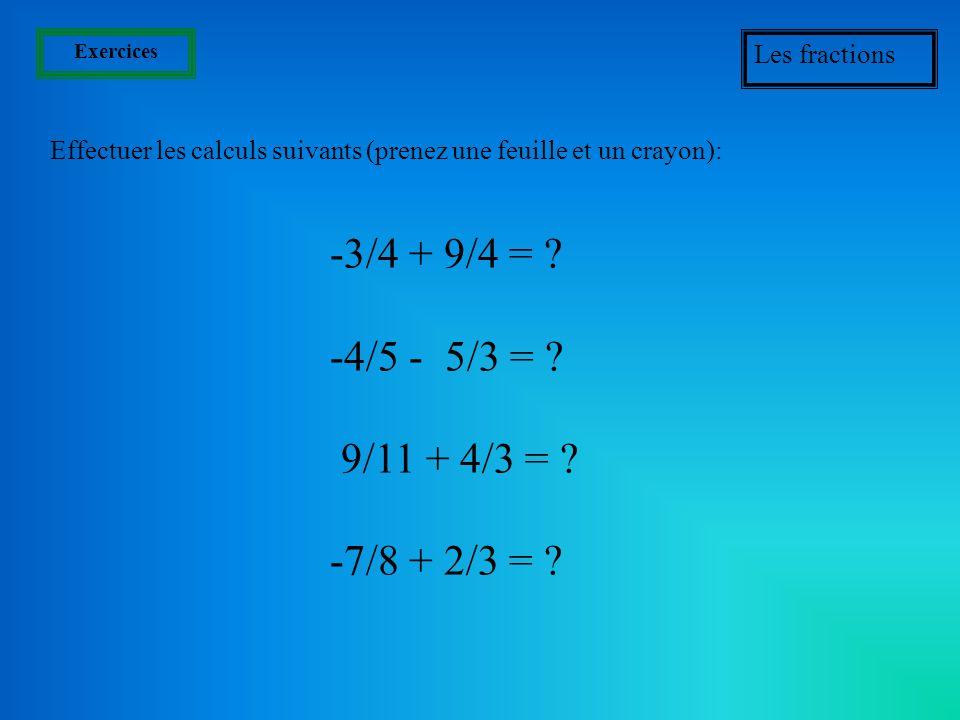 Exemples daddition de fractions On regarde si on obtient le même résultat avec les deux méthodes. 2 + 3 = 3 4 Transformons chaque fraction en fraction