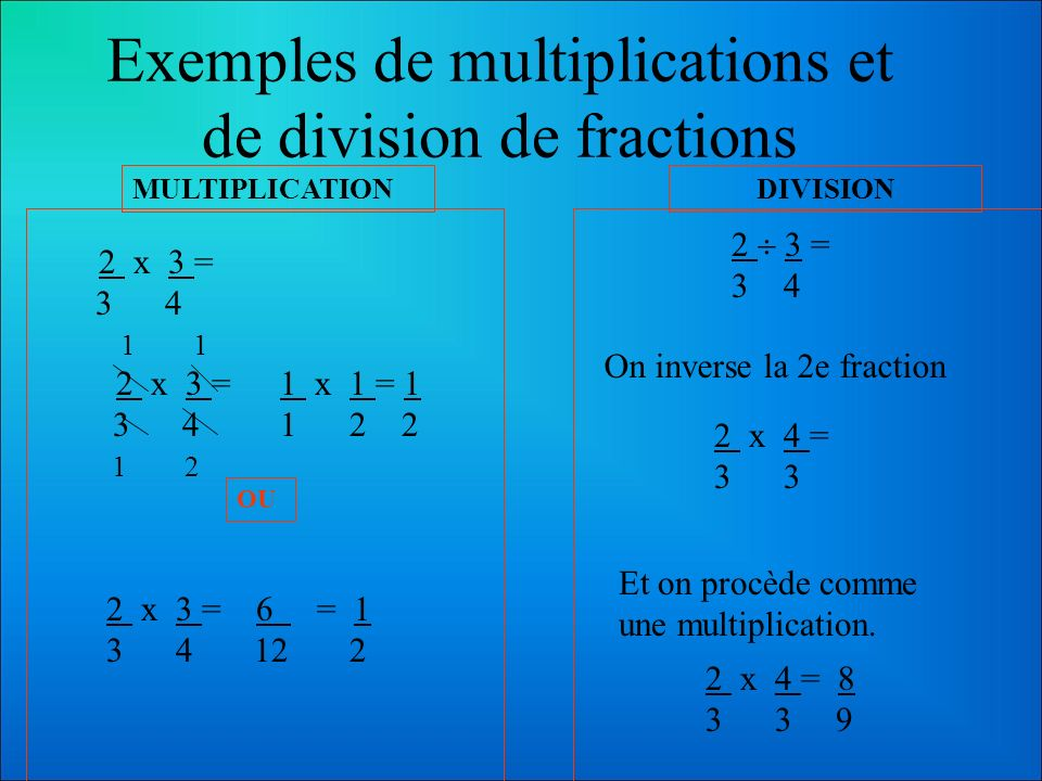 Multiplication et division de fractions Si on revient à la définition des opérations, on devrait encore se rappeler que la multiplication et la divisi