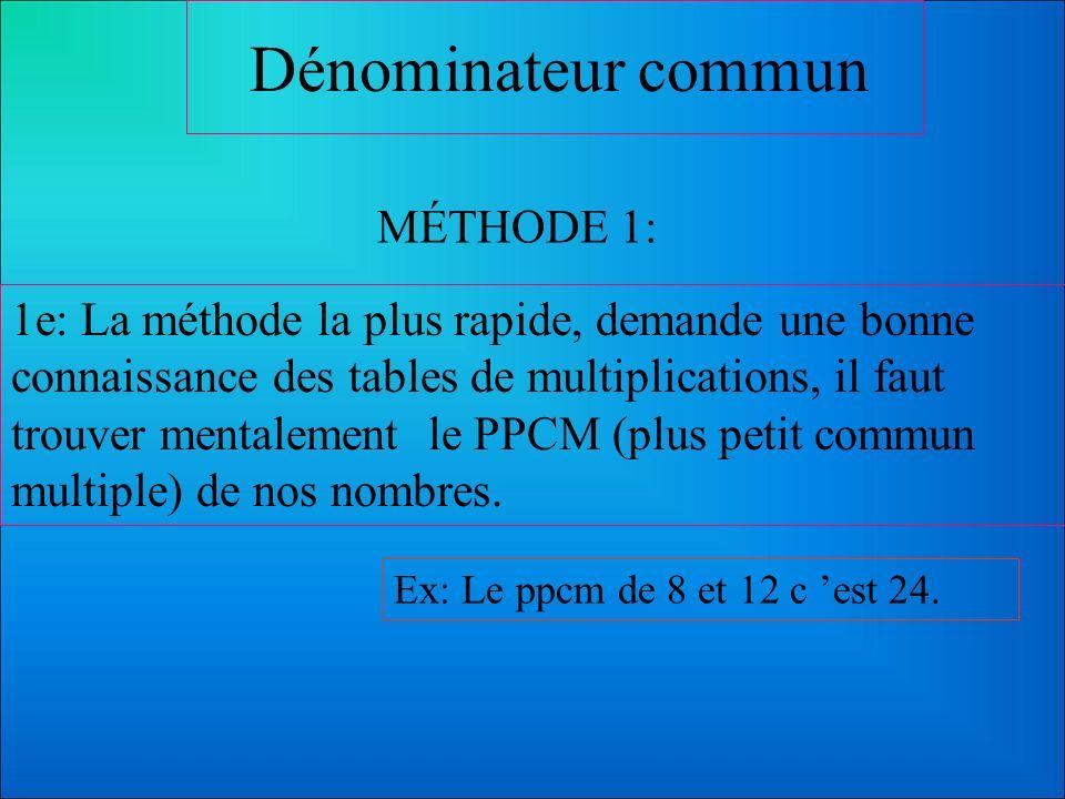 Dénominateur commun MÉTHODES: Il y a plusieurs méthodes pour trouver le dénominateur commun. Il s agit d en adopter une que l on comprend bien. Voici