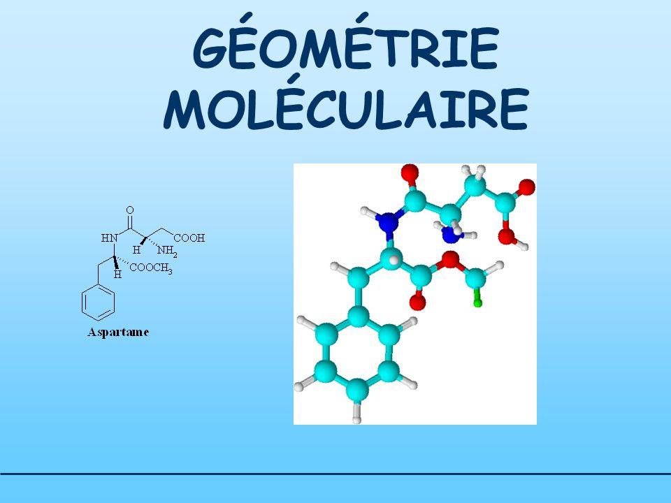 THEORIE DE LA REPULSION DES PAIRES ELECTRONIQUES DE VALENCE Géométrie moléculaire Exemples: CO 2 Atome central: C Doublet liant : 4 Doublet libre : 0 Forme de la molécule : tétraédrique (AX 4 )