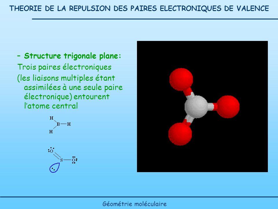 THEORIE DE LA REPULSION DES PAIRES ELECTRONIQUES DE VALENCE –Structure trigonale plane: Trois paires électroniques (les liaisons multiples étant assim