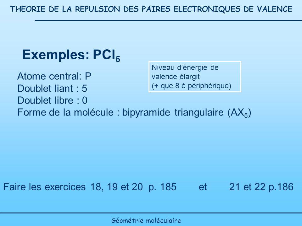 THEORIE DE LA REPULSION DES PAIRES ELECTRONIQUES DE VALENCE Géométrie moléculaire Exemples: PCl 5 Atome central: P Doublet liant : 5 Doublet libre : 0