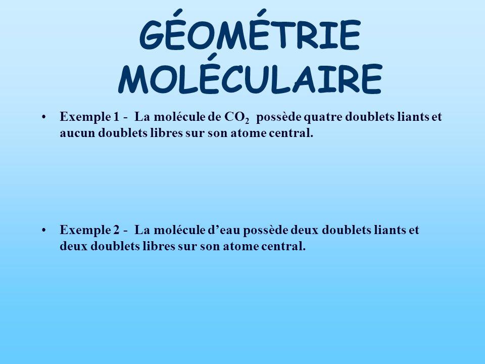 Exemple 1 - La molécule de CO 2 possède quatre doublets liants et aucun doublets libres sur son atome central. Exemple 2 - La molécule deau possède de