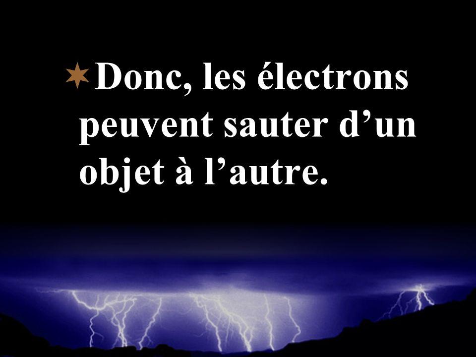Donc, les électrons peuvent sauter dun objet à lautre.