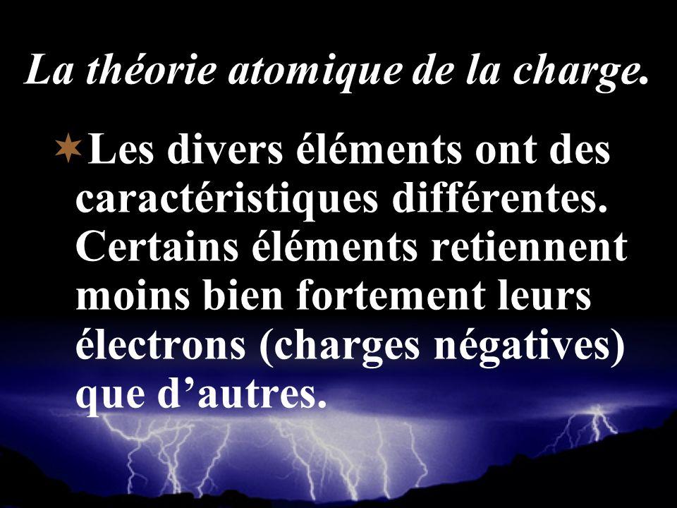 La théorie atomique de la charge. Les divers éléments ont des caractéristiques différentes. Certains éléments retiennent moins bien fortement leurs él