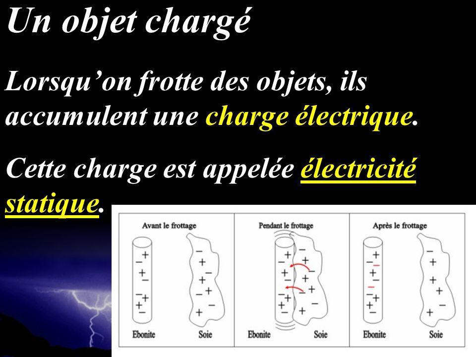 Lorsquon frotte des objets, ils accumulent une charge électrique. Cette charge est appelée électricité statique. Un objet chargé