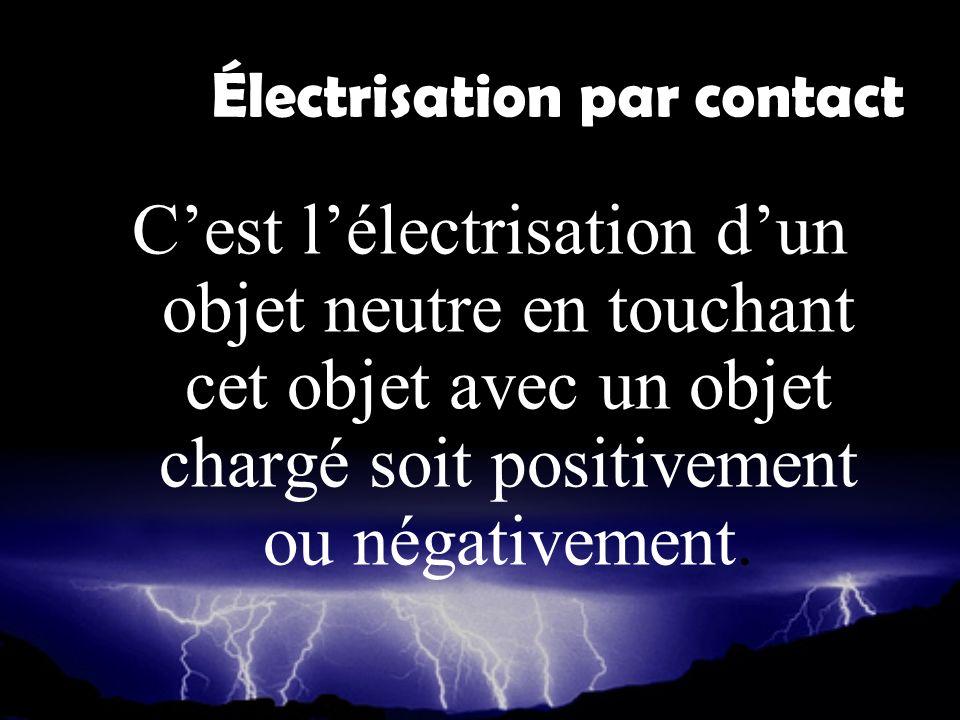 Électrisation par contact Cest lélectrisation dun objet neutre en touchant cet objet avec un objet chargé soit positivement ou négativement.