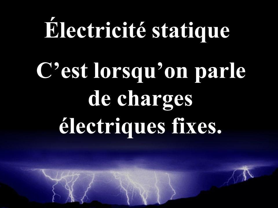 Cest lorsquon parle de charges électriques fixes. Électricité statique