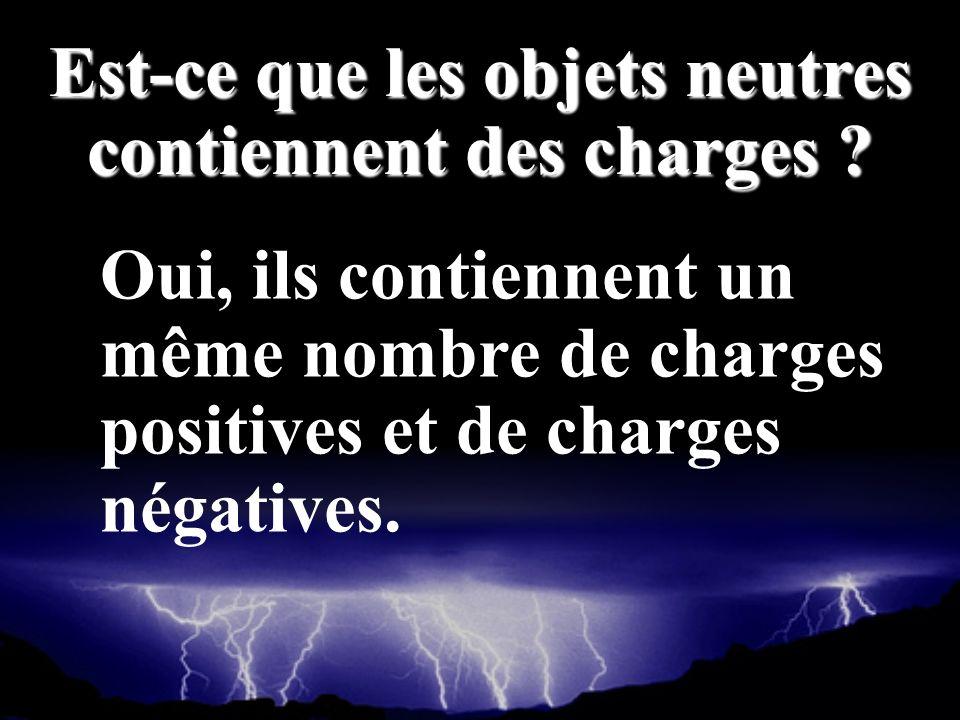 Oui, ils contiennent un même nombre de charges positives et de charges négatives. Est-ce que les objets neutres contiennent des charges ?