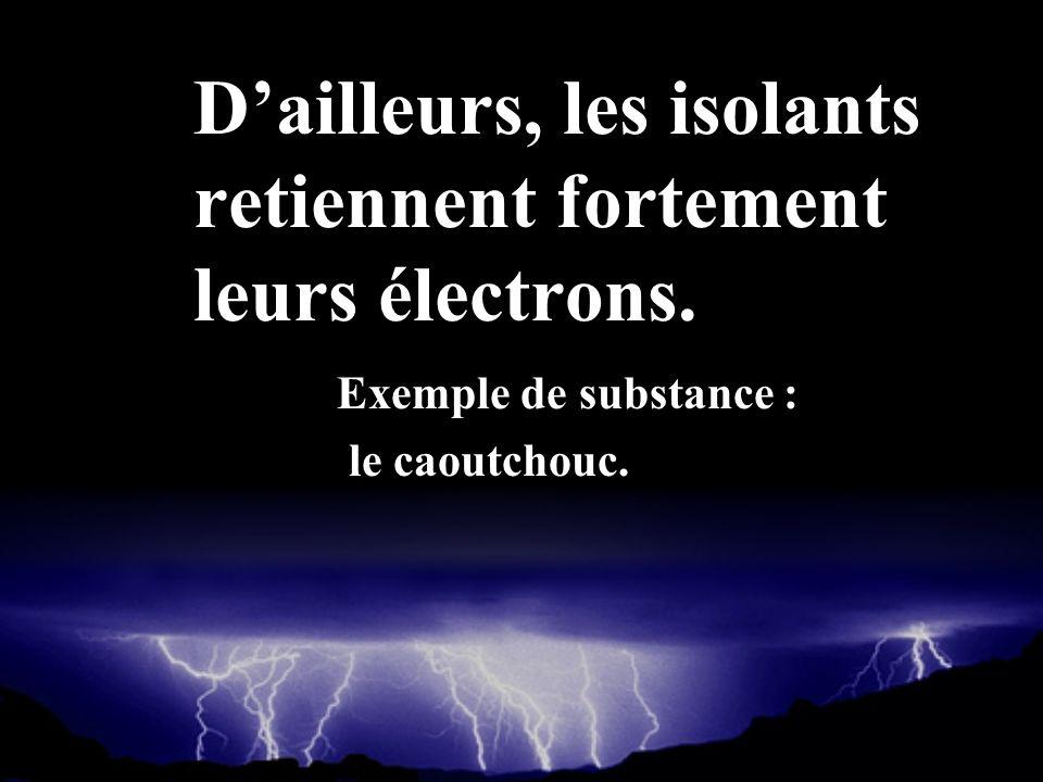 Dailleurs, les isolants retiennent fortement leurs électrons. Exemple de substance : le caoutchouc.