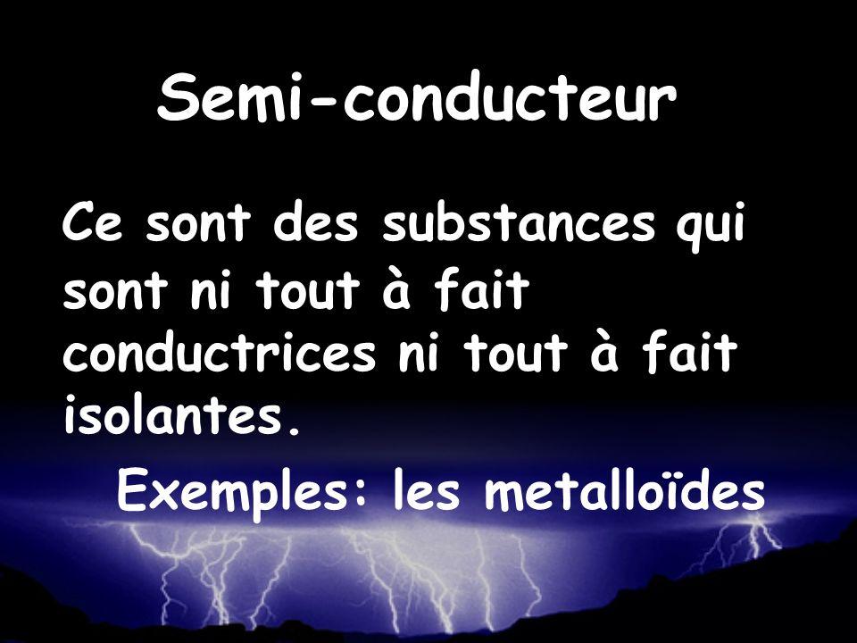 Ce sont des substances qui sont ni tout à fait conductrices ni tout à fait isolantes. Exemples: les metalloïdes Semi-conducteur