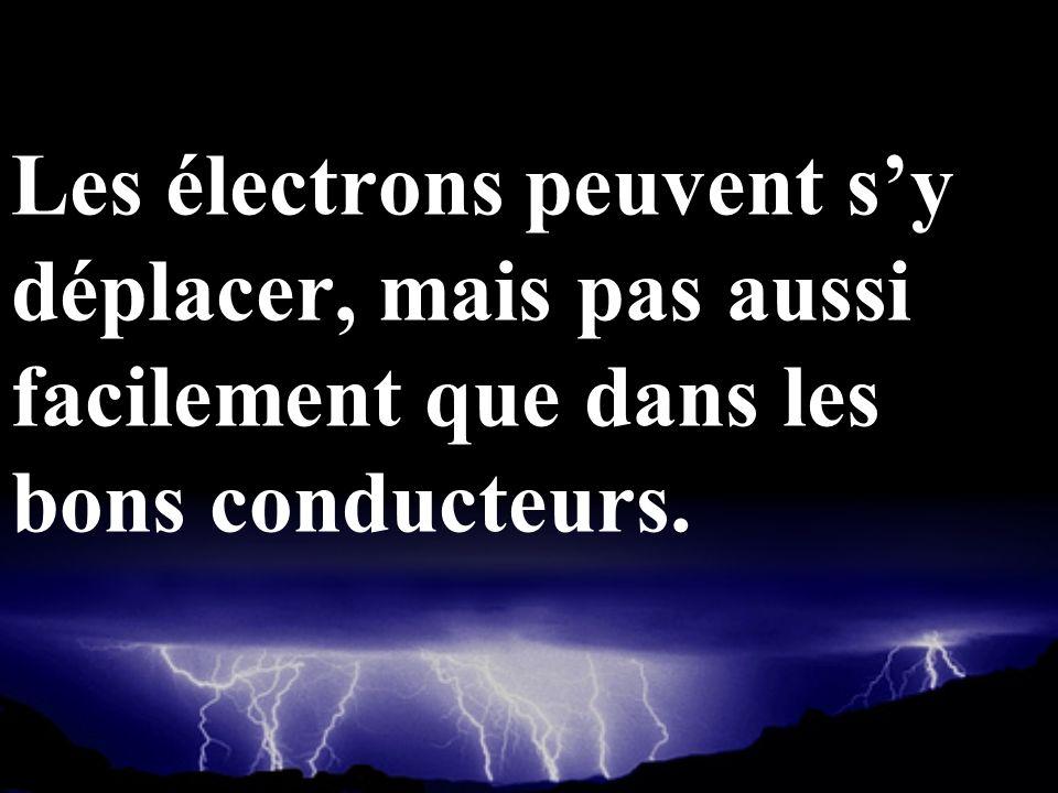 Les électrons peuvent sy déplacer, mais pas aussi facilement que dans les bons conducteurs.
