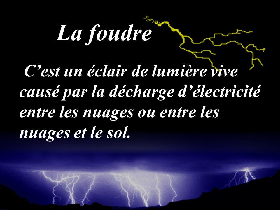 Cest un éclair de lumière vive causé par la décharge délectricité entre les nuages ou entre les nuages et le sol. La foudre