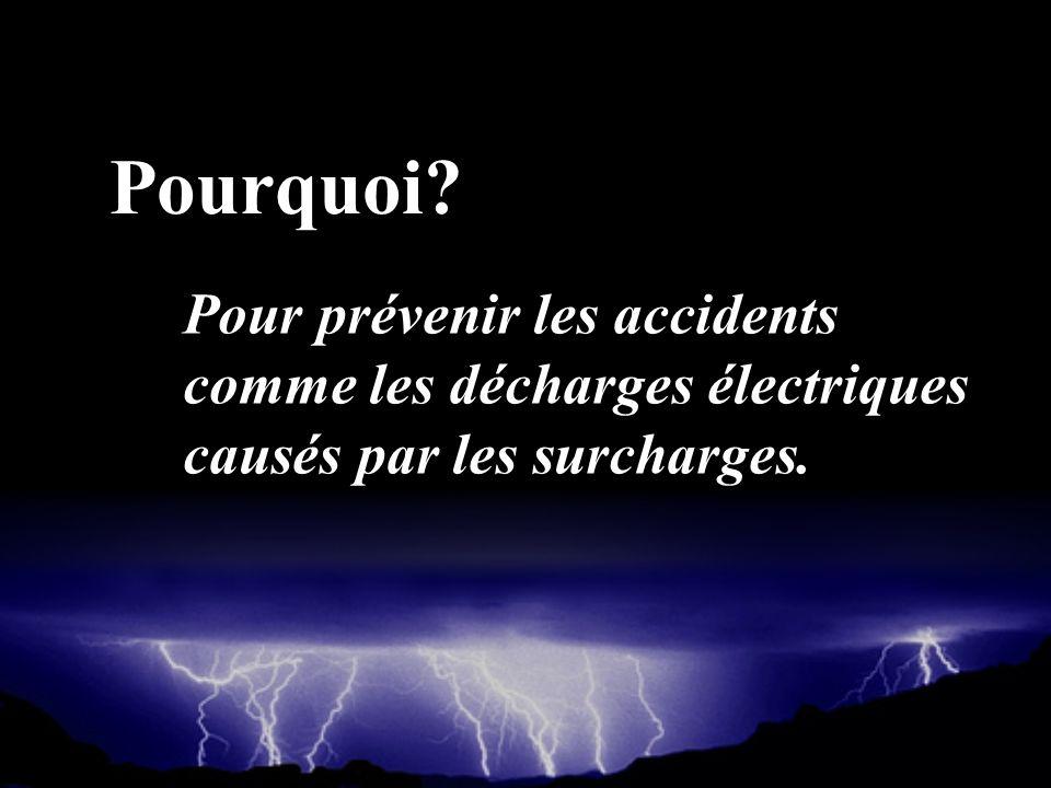 Pourquoi? Pour prévenir les accidents comme les décharges électriques causés par les surcharges.