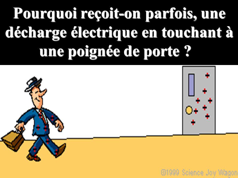 Pourquoi reçoit-on parfois, une décharge électrique en touchant à une poignée de porte ? Pourquoi reçoit-on parfois, une décharge électrique en toucha