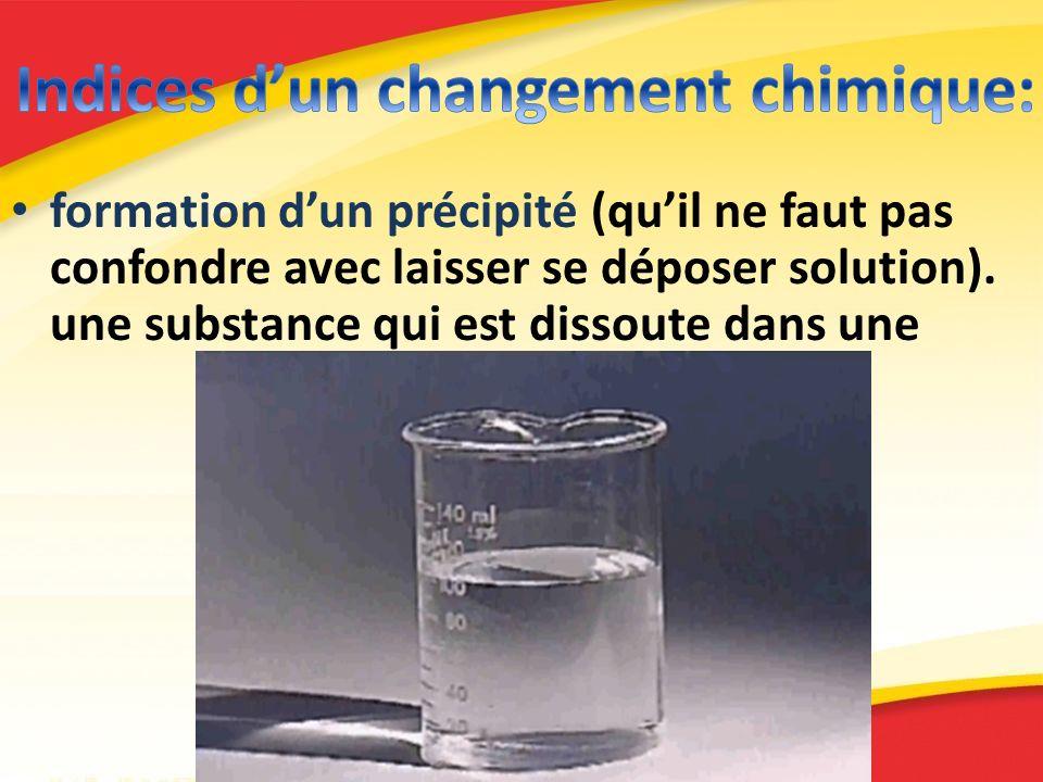 formation dun précipité (quil ne faut pas confondre avec laisser se déposer solution). une substance qui est dissoute dans une