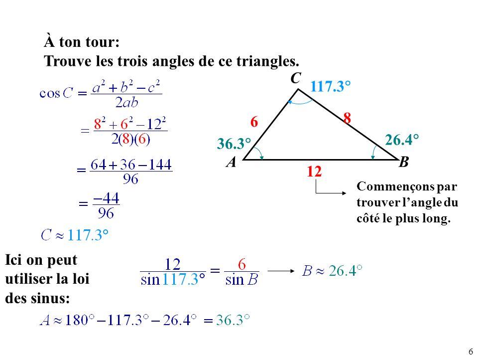 7 Résous le triangle suivant.