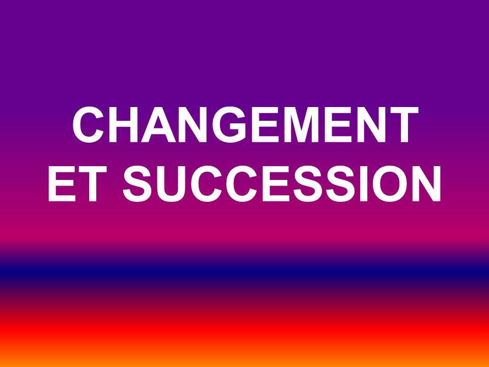 La succession: Un écosystème est graduellement remplacé par un autre écosystème au fil du temps.