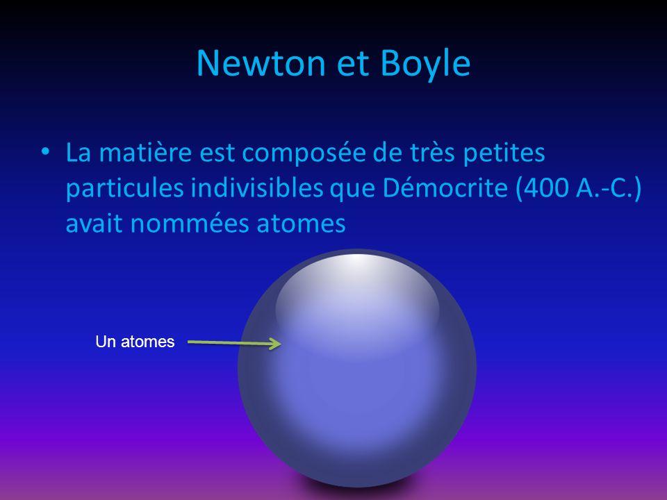 Newton et Boyle La matière est composée de très petites particules indivisibles que Démocrite (400 A.-C.) avait nommées atomes Un atomes