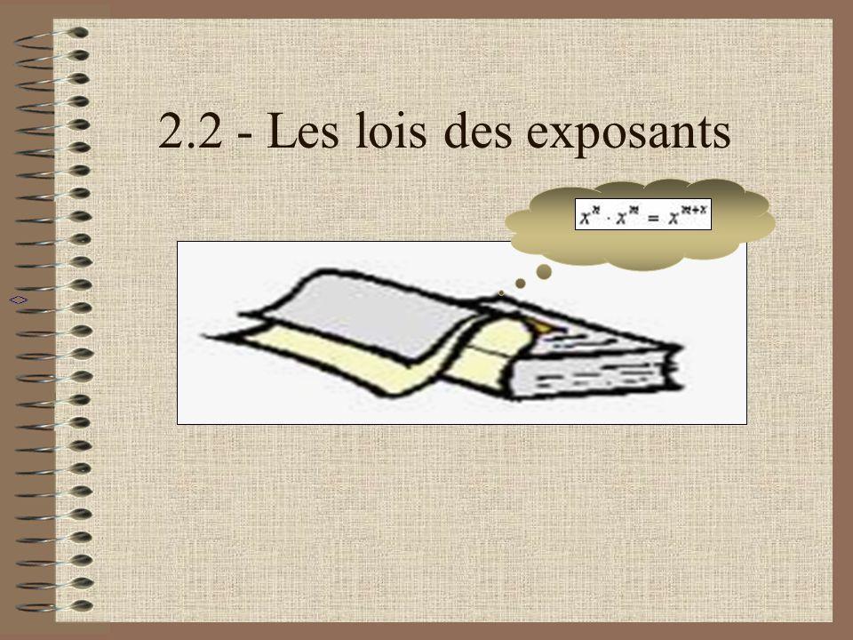 Exposant négatif Supposons que nous avons lexemple suivant : 3 –4 Alors la quatrième loi des exposants suppose que: 3 –4 = 1 = 1 3 4 81 a -m = 1 / a m si a nest pas égal à 0 Menu