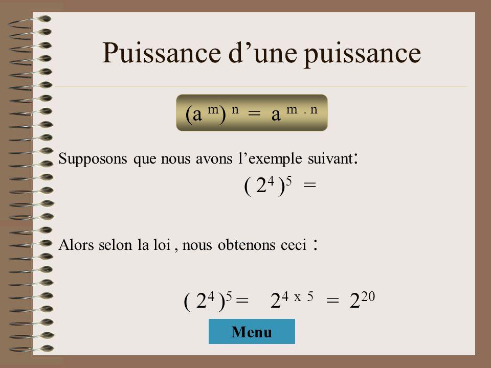 Puissance dune puissance Supposons que nous avons lexemple suivant : ( 2 4 ) 5 = Alors selon la loi, nous obtenons ceci : ( 2 4 ) 5 = 2 4 x 5 = 2 20 (