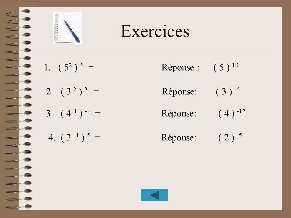 Exercices 1. ( 5 2 ) 5 = Réponse : 2. ( 3 -2 ) 3 = Réponse: 3. ( 4 4 ) -3 = Réponse: 4. ( 2 -1 ) 5 = Réponse: ( 5 ) 10 ( 3 ) -6 ( 4 ) -12 ( 2 ) -5