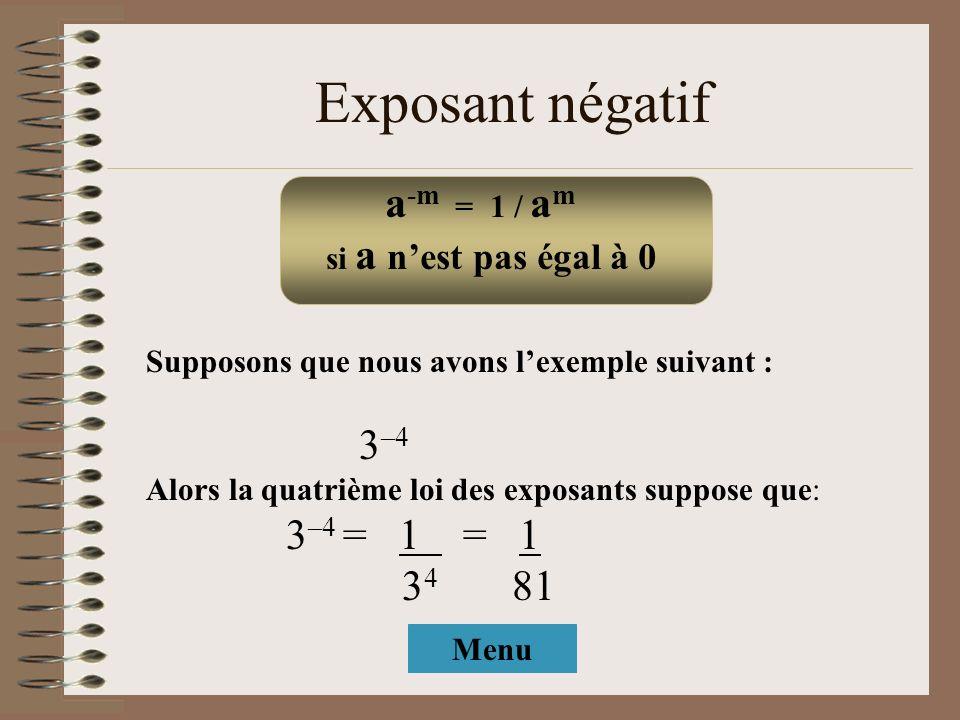 Exposant négatif Supposons que nous avons lexemple suivant : 3 –4 Alors la quatrième loi des exposants suppose que: 3 –4 = 1 = 1 3 4 81 a -m = 1 / a m