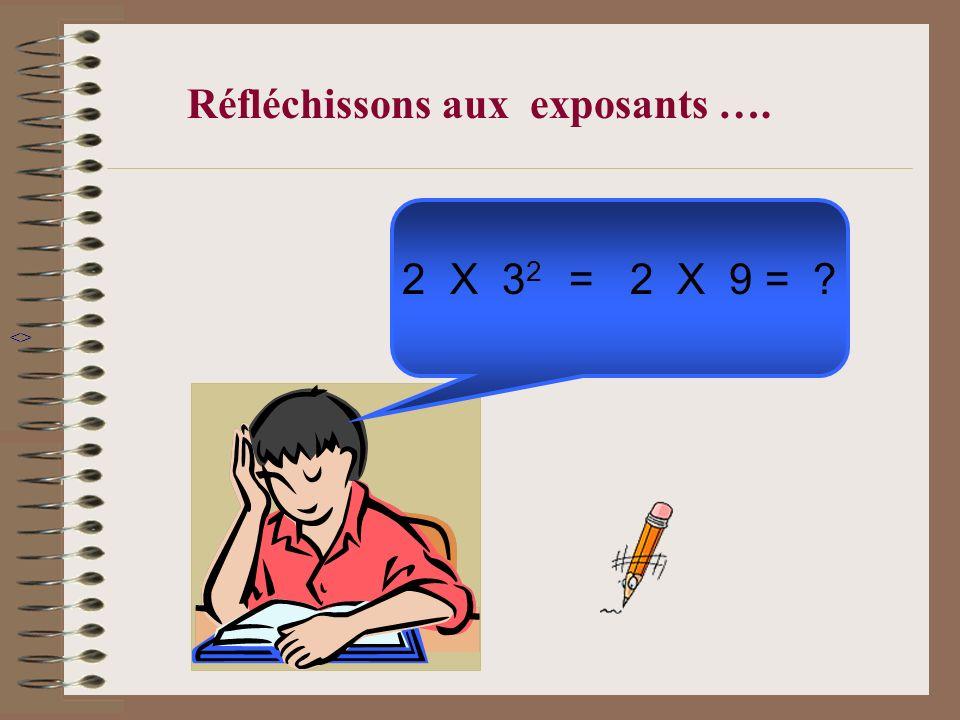 2X 3 2 = 2 X 9 = ? Réfléchissons aux exposants …. <>